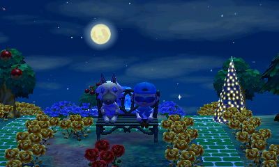 Sitting with Vivian on the bench, with a nearly full moon behind us.