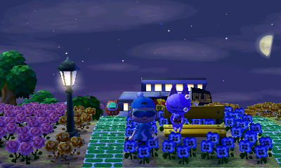 Bob sleeps on a yellow bench in Animal Crossing: New Leaf for Nintendo 3DS.