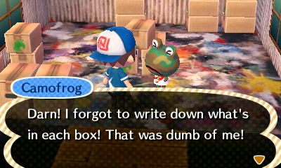 Camofrog: Darn! I forgot to write down what's in each box! That was dumb of me!