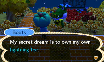 Boots: My secret dream is to own my own lightning tee...