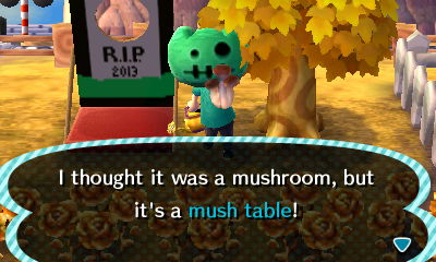 I thought it was a mushroom, but it's a mush table!