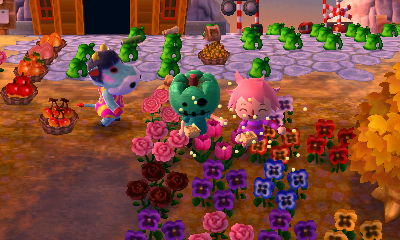 Jeff and Merka throwing beans in the New Leaf town of Muffy.