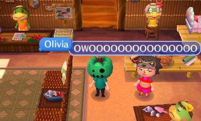 Olivia, wearing a werewolf hood: OWOOOOOOOOOOOOOOO!