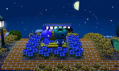 Bob sleeps on a yellow bench in ACNL.