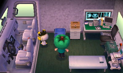 Raddle in his RV in Animal Crossing: New Leaf for Nintendo 3DS.