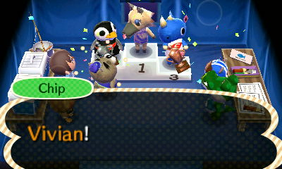 Chip declares Vivian the winner of the fishing tournament in Animal Crossing: New Leaf.