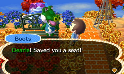 Boots: Dearie! Saved you a seat!