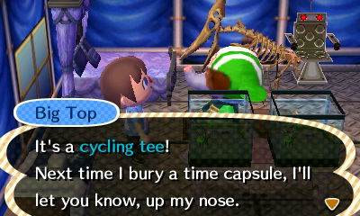 Big Top: It's a cycling tee! Next time I bury a time capsule, I'll let you know, up my nose.