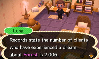 Luna: Records state the number of clients who have experienced a dream about Forest is 2,006.