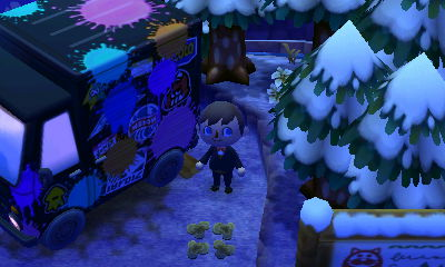 The outside of Inkwell's Splatoon based RV in ACNL.