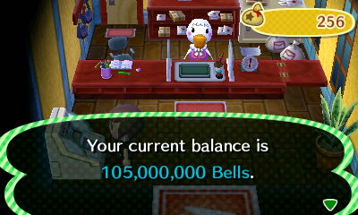 Your current balance is 105,000,000 bells.