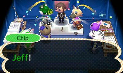 Chip announces Jeff as the winner of the fishing tournament in Animal Crossing: New Leaf.