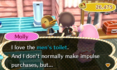 Molly: I love the men's toilet. And I don't normally make impulse purchases, but...