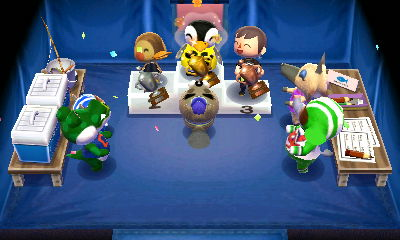 Aurora, Molly, and Jeff celebrating success at the fishing tournament in ACNL.