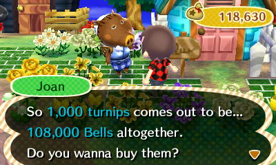 Joan: So 1,000 turnips comes out to be... 108,000 bells altogether. Do you wanna buy them?