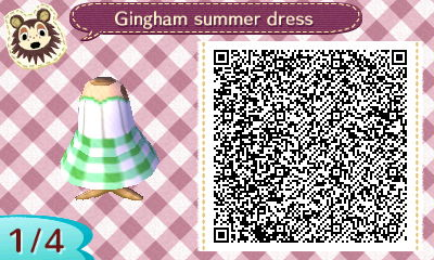 Image of: Christmas Qr Code For Green Gingham Summer Dress In Animal Crossing Animal Crossing New Leaf Qr Codes Dresses