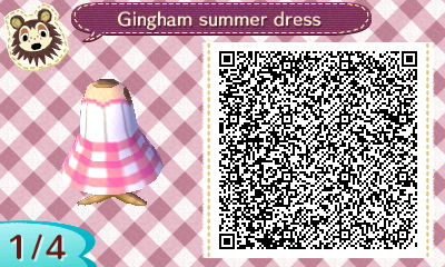 Image of: Acnl Qr Qr Code For Pink Gingham Summer Dress In Animal Crossing Mycustomcdcom Animal Crossing New Leaf Qr Codes Dresses